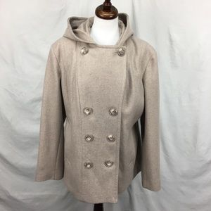 Anne Klein Oatmeal Double Breasted Peacoat Jacket